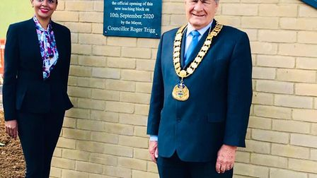 Headteacher Merry John and Welwyn Hatfield Mayor Roger Trigg. Picture: Supplied