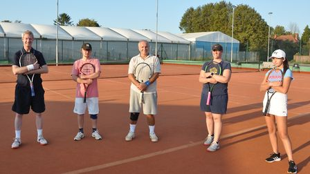 Wisbech Tennis Club held a Fed style tournament which was decided on bonus points. From left to righ
