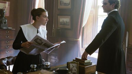 Millie Bobby Brown as Enola Holmes and Henry Cavill as Sherlock Holmes. Picture: Alex Bailey / Legen