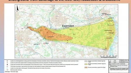 The bromate plume is spreading. Picture: Care of Cllr Eames-Petersen's presentation