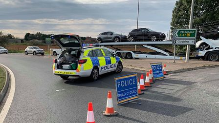 The A47 closed at Guyhirn following a collision on September 28. Pictures: Policing Fenland