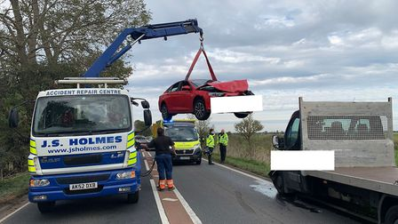 The crash on the A47 South Brink between Wisbech and Guyhirn on September 28. Picture: Fen Cops