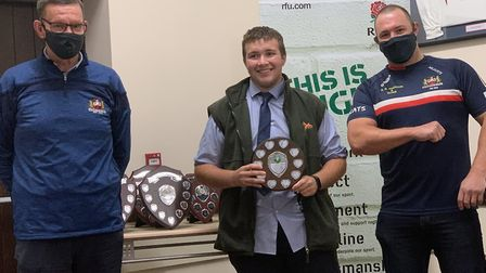 George Overland (centre) with the under 18 colts most improved player award. Picture: WISBECH RUGBY
