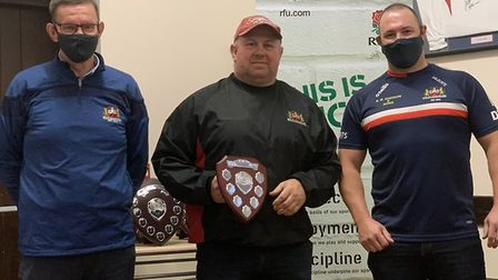 Mark Goude (centre) won the long playing service award for another year. Picture: WISBECH RUGBY CLUB