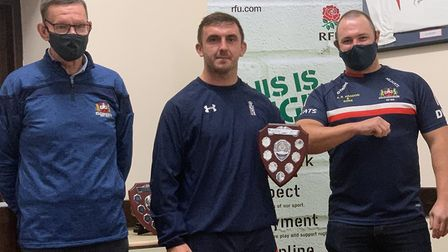 Bradley Williams (centre) was named the first-team player's player of the year. Picture: WISBECH RUG