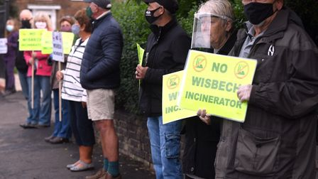 Campaigners outside the Rosmini Centre on the opening day of MVV Environment's exhibition into the p
