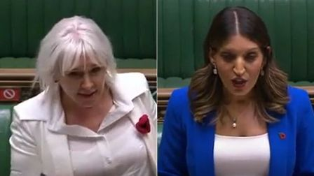 Picture of mental health minister Nadine Dorries (L) and Labour's Dr Rosena Allin-Khan
