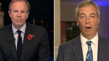 photo of ITV's Tom Bradby (L) and Nigel Farage during an interview