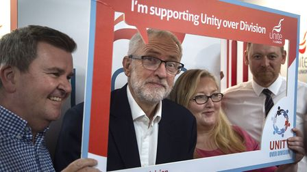 Jeremy Corbyn during a walk around the trade stalls at the Labour Party Conference. Photograph: Vict