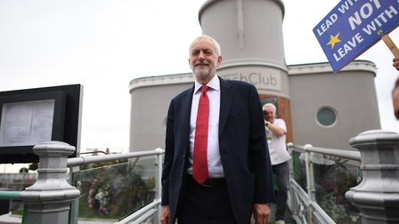 Jeremy Corbyn leaving Brighton Beach Club during the Labour Party Conference at the Brighton Centre.