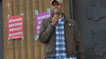 Clive Lewis MP speaks at a local Stop The Coup event. Photograph: Sonya Duncan/Archant.