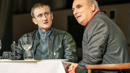 Tom Brooke as Alexander Litvinenko and Peter Polycarpou as Boris Berezovsky in A Very Expensive Pois