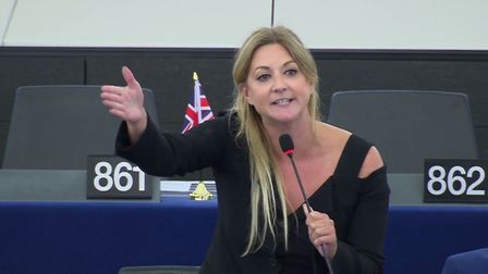 Brexit Party MEP Alexandra Phillips was visibly riled when she was challenged in EU parliament over