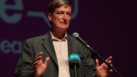 Dominic Grieve speaks at a People's Vote rally in Belfast. Photograph: Liam McBurney/PA.