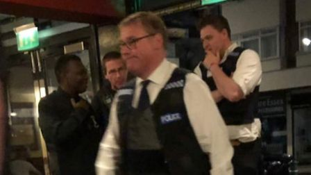 Mark Francois appears in a Rayleigh pub as a police officer. Photograph: SophieRose19x/Twitter.