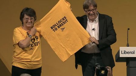 Guy Verhofstadt receives a Bollocks to Brexit t-shirt at Lib Dem conference. Photograph: Facebook.