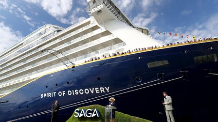 The Duchess of Cornwall makes a speech next to the Saga Group's cruise ship the Spirit of Discovery.