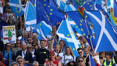 Pro-Europeans on a march in Scotland