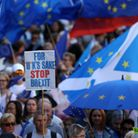 Protestors during the March to Remain in the EU in Edinburgh
