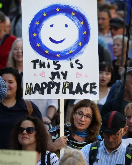 Protestors during the March to Remain in the EU in Edinburgh. Photograph: Andrew Milligan/PA Wire.