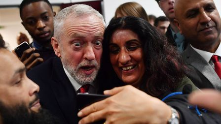 Opposition Labour party leader Jeremy Corbyn poses for a selfie after giving a speech on Brexit at C