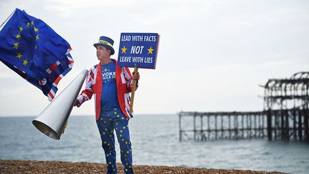 Steve Bray campaigns for Remain in Brighton outside Labour Party conference. Photograph: Victoria Jo