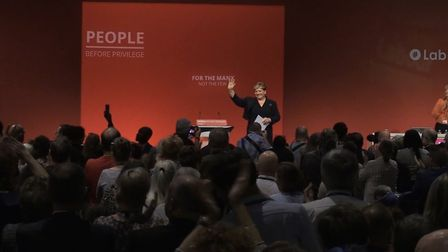 Emily Thornberry receives applause for her conference speech. Photograph: TNE.