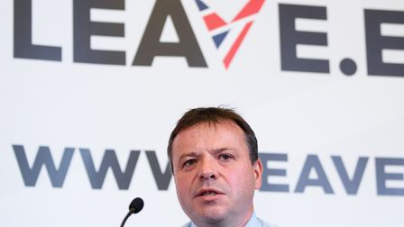 "British businessman Arron Banks takes part in a press briefing by the ""Leave.EU"" campaign group"