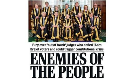 """Leave.EU mocks up the justices as """"enemies of the people"""" in a social media campaign. Photograph: Fa"""