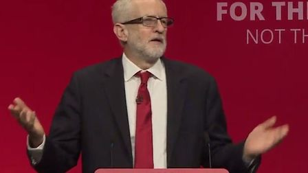 Jeremy Corbyn delivering his speech at the Labour Party conference 2019. Picture: Sky