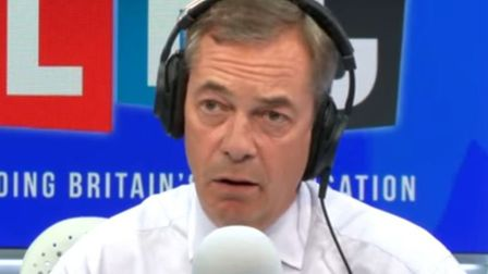 A caller set up the perfect prank on Nigel Farage on his LBC show. Picture: LBC