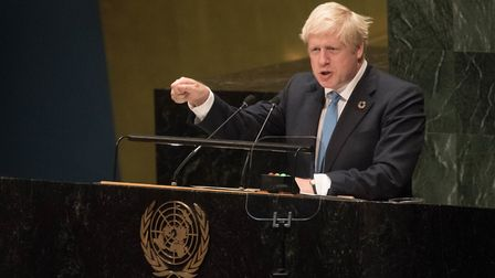 Prime Minister Boris Johnson speaks to the 74th Session of the UN General Assembly. Photograph: Stef