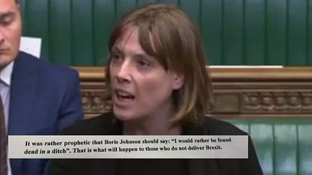 MP Jess Phillips with the death threat she received posted to Twitter. Photograph: PA/Twitter.