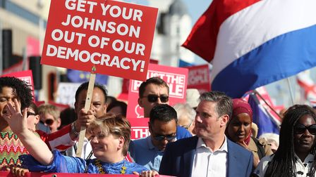 Emily Thornberry and Sir Keir Starmer at the anti-Brexit 'Trust the People' march and rally during t