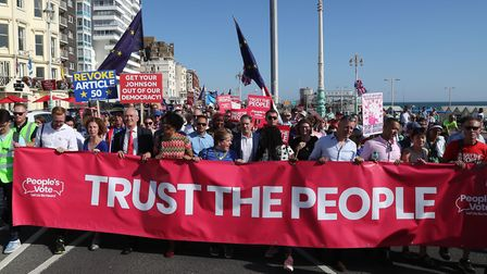 Emily Thornberry and Sir Keir Starmer at the anti-Brexit 'Trust the People' march and rally during the Labour Party...
