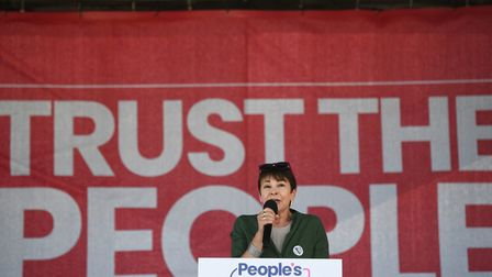 Green Party MP Caroline Lucas speaks at the Anti-Brexit 'Trust the People' march and rally