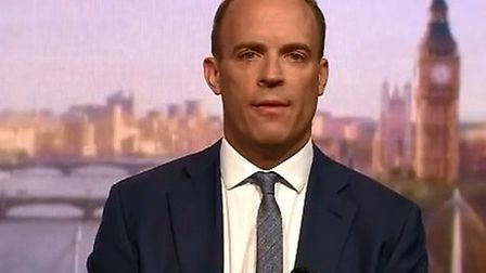 Dominic Raab speaking on the Andrew Marr Show this morning. Picture: BBC