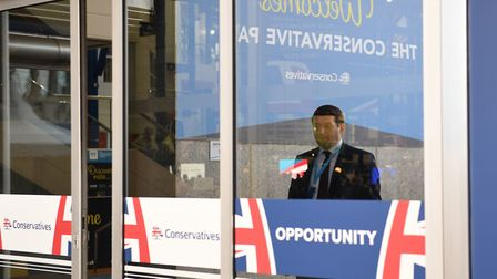 Tory supporters arriving for the Conservative Party annual conference. Photograph: Stefan Rousseau/P