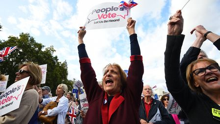 People's Vote campaigners in Westminster. Photograph: Kirsty O'Connor/PA.