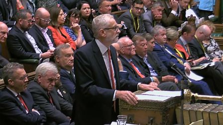 Labour Party leader Jeremy Corbyn speaks in the House of Commons. Photograph: House of Commons/PA Wi