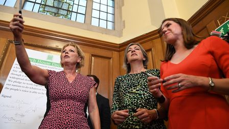 Anna Soubry, Liz Saville Roberts and Jo Swinson, during a meeting of a cross-party group of MPs. Pho