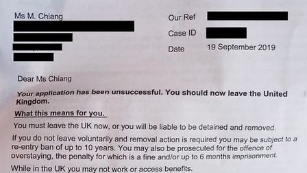Mu-Chun Chiang's letter from the Home Office telling her to leave the UK. Photograph: Mu-Chun Chiang