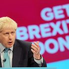 Boris Johnson in front of a 'get Brexit done' screen. Photograph: Danny Lawson/PA Wire.