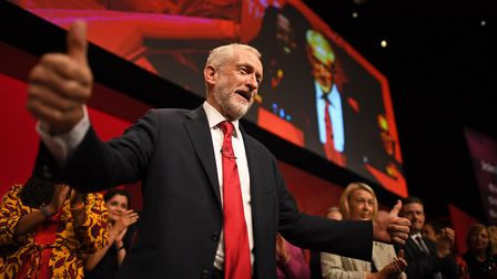 Labour leader Jeremy Corbyn is joined by the shadow cabinet on stage. Photograph: Victoria Jones/PA.
