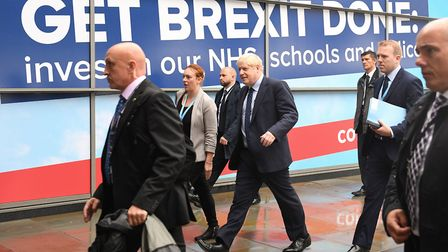 Prime minister Boris Johnson arrives at the Conservative Party Conference at Manchester Central. Photograph: Stefan...