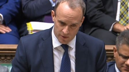 Foreign secretary Dominic Raab deputising at prime minister's questions in the House of Commons (Pic