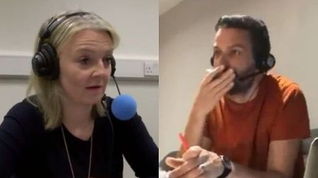 Liz Truss appears on Radio 5 Live as comedian Michael Spicer takes apart the interview. Photograph: