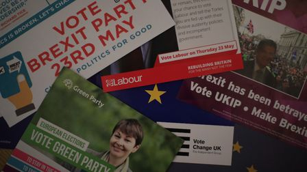 Election campaign literature from the Brexit Party, Labour, the Green Party, Change UK and UKIP, for