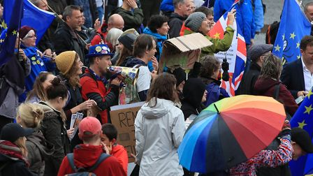 Anti Brexit protesters at the Reject Brexit, Defend Our Democracy protest. Photograph: Peter Byrne/P