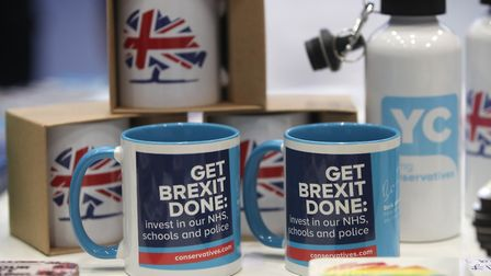 'Get Brexit done' mugs are being sold at the Conservative Party Conference. Photograph: Danny Lawson